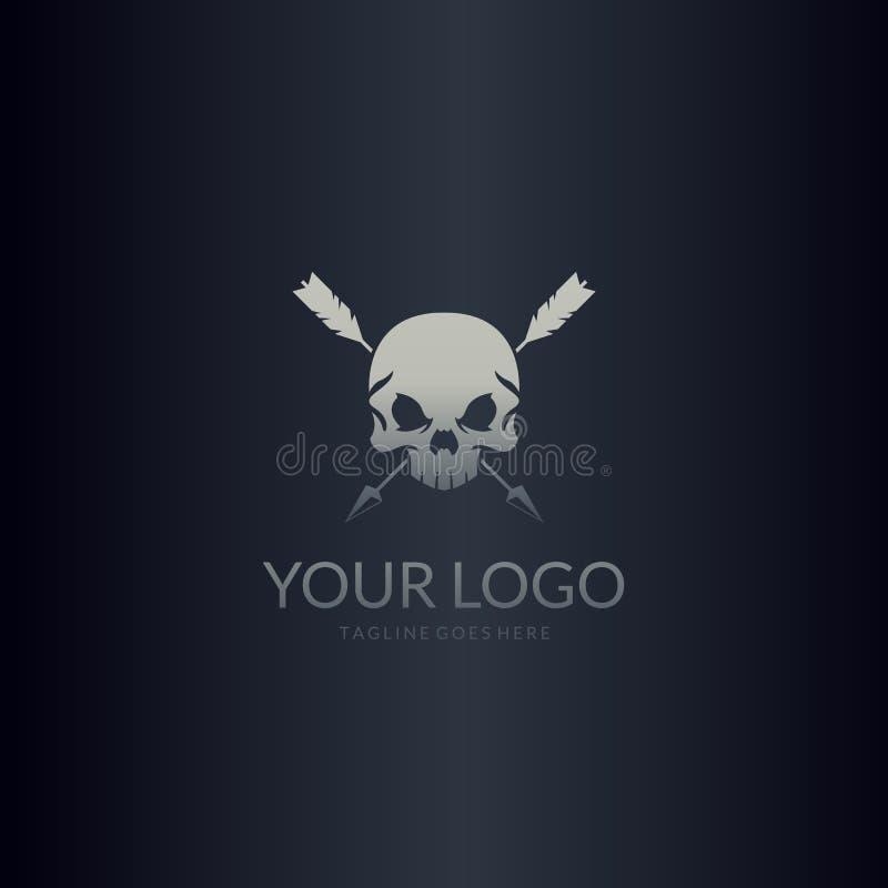 Setas e crânio cruzados Logotipo do crânio ilustração do vetor