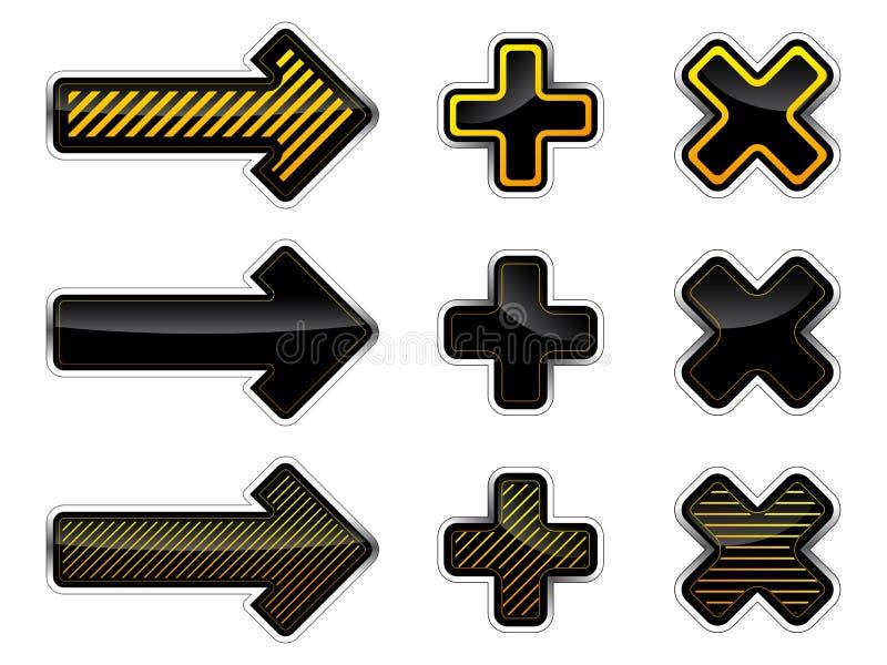 Setas e cruzes ilustração stock