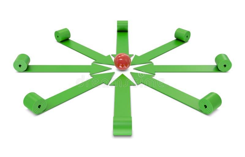 Setas e esfera vermelha ilustração do vetor