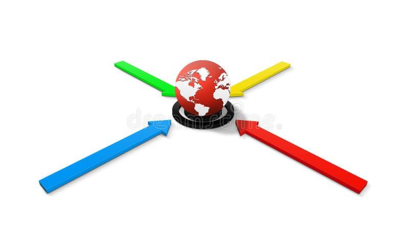 Setas e um globo do mundo ilustração stock