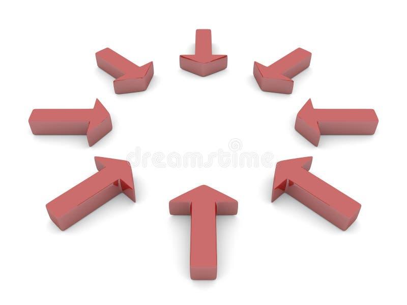Setas em um círculo ilustração do vetor