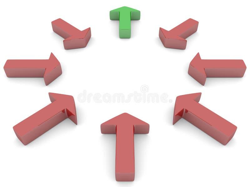 Setas em um círculo ilustração stock