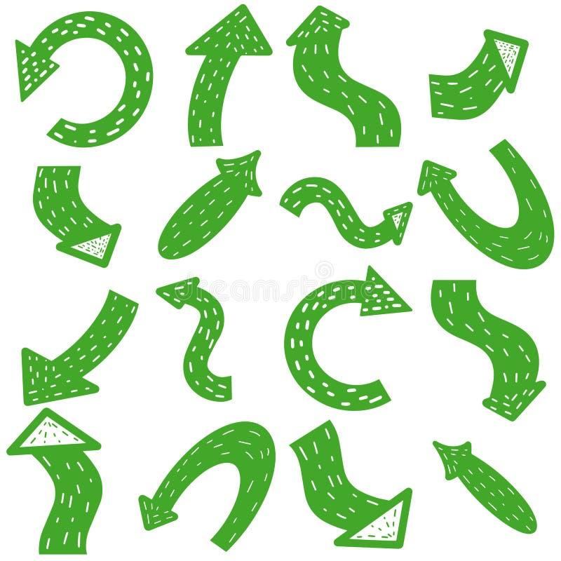 Setas escandinavas verdes Grupo tirado m?o da seta isolado no fundo branco Ponteiro para o neg?cio Coleção do ícone do cursor ilustração do vetor