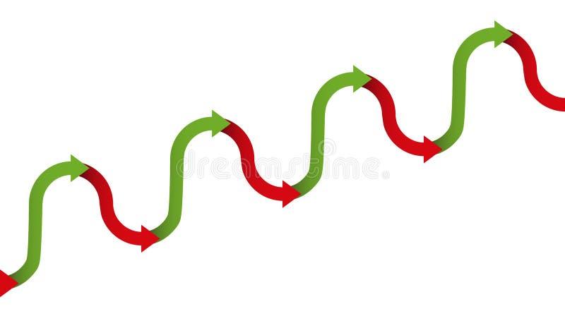 Setas graduais do símbolo do aumento da tendência ascendente ilustração do vetor