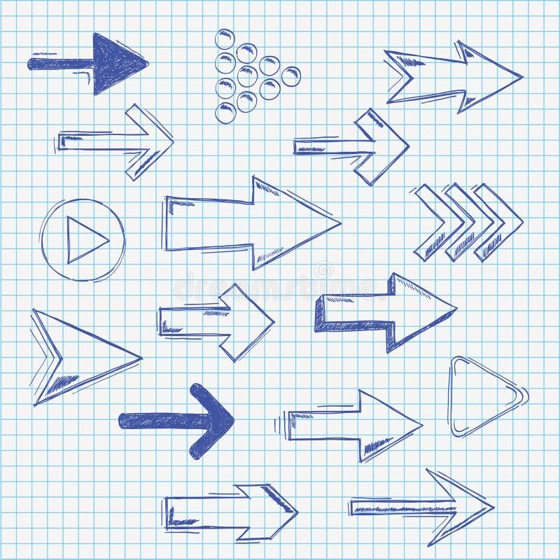 Setas Handdrawn de papel verificadas ajustadas ilustração stock