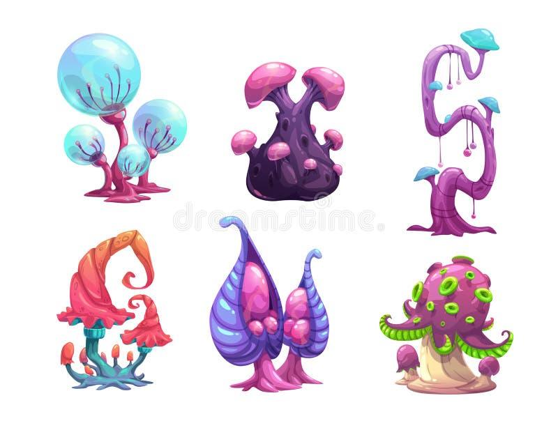 Setas hermosas de la fantasía fijadas stock de ilustración