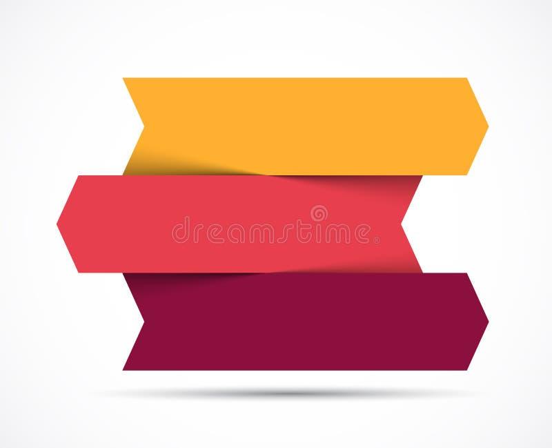 Setas infographic, carta do diagrama, apresentação do gráfico Conceito do negócio com 3 opções, peças, etapas, processos ilustração stock