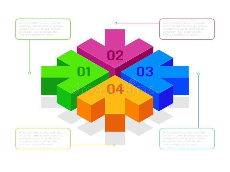 Setas isométricas com o infographics do fluxograma, dos trabalhos ou do processo Setas dos passos seguintes para apresentações Ve ilustração royalty free