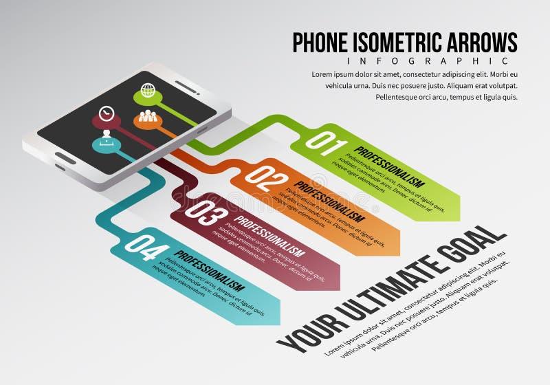 Setas isométricas Infographic do telefone ilustração do vetor
