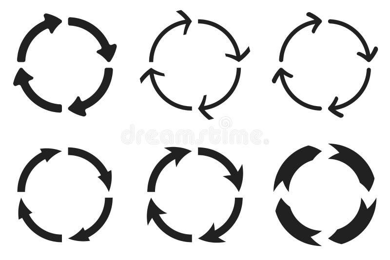 Setas no movimento circular Combinações da seta ilustração do vetor