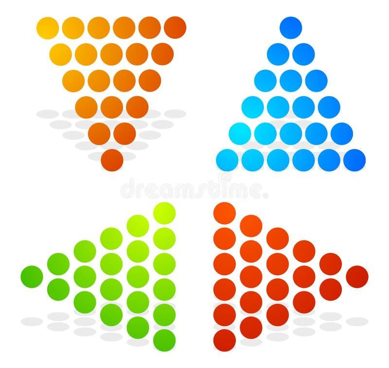 Setas pontilhadas, setas que apontam acima, para baixo, esquerdo, direitas Colorf ilustração stock