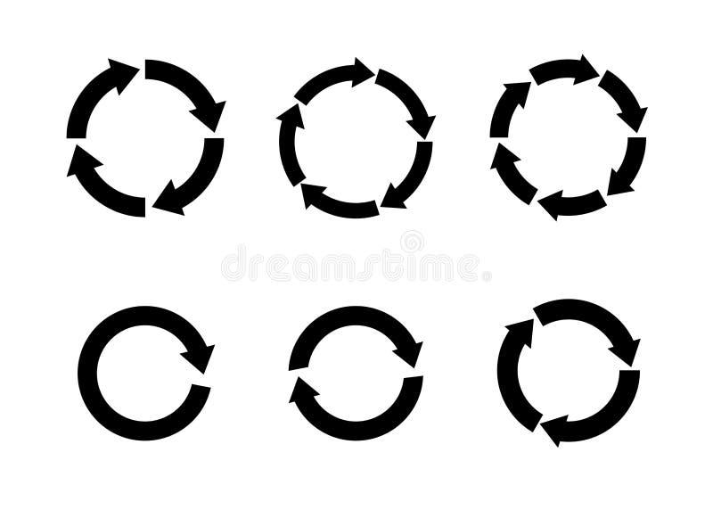 Setas pretas no movimento circular ilustração stock