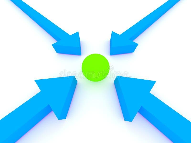 Setas que pionting uma esfera. ilustração stock