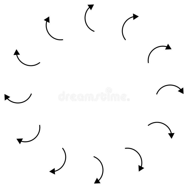 Setas radiais, circulares apontando do centro Ponteiros concentrados para extrusão, temas de saliência Dificuldade, distensão, in ilustração royalty free