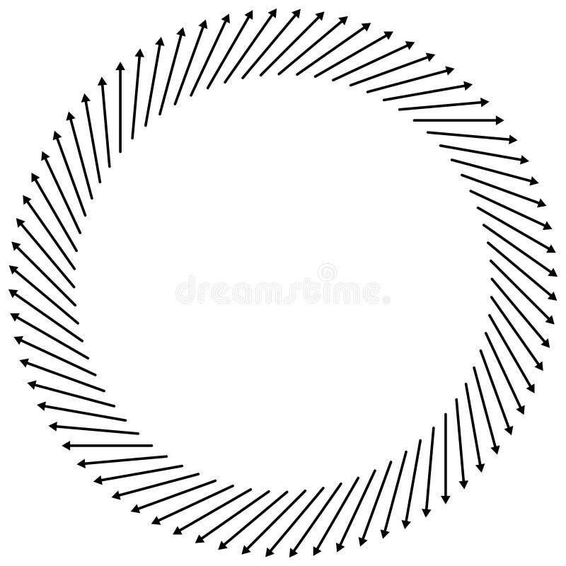 Setas radiais, circulares apontando do centro Ponteiros concentrados para extrusão, temas de saliência Dificuldade, distensão, in ilustração do vetor