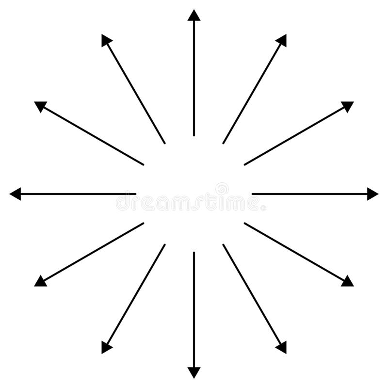 Setas radiais, circulares apontando do centro Ponteiros concentrados para extrusão, temas de saliência Dificuldade, distensão, in ilustração stock