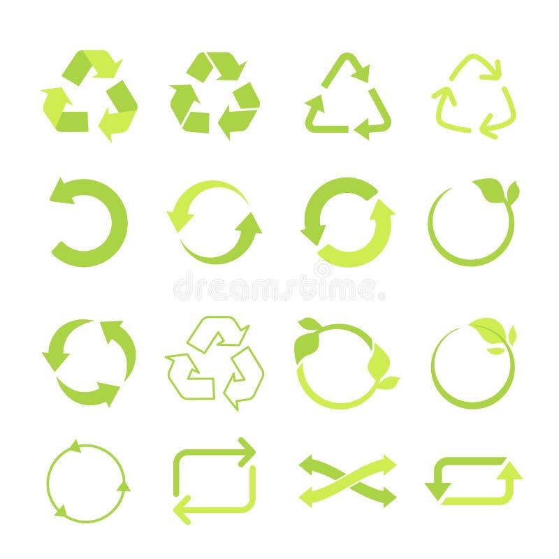 Setas recicladas do grupo, do ciclo e do triângulo do ícone do vetor do eco em um estilo liso ilustração royalty free