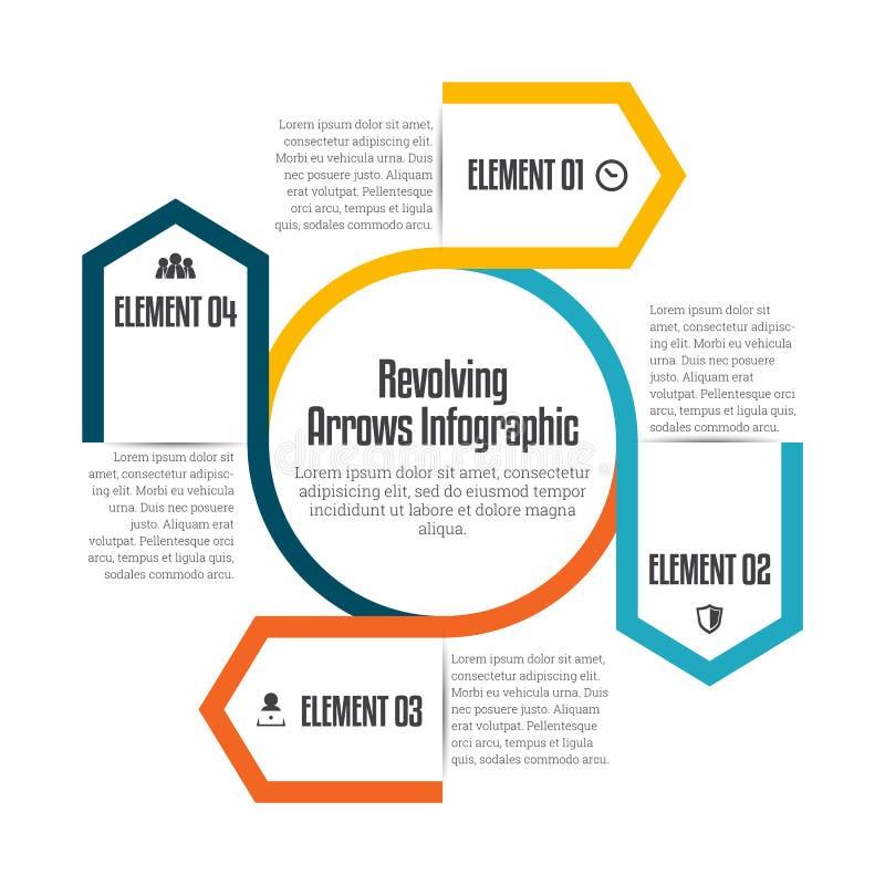 Setas revolvendo Infographic ilustração do vetor