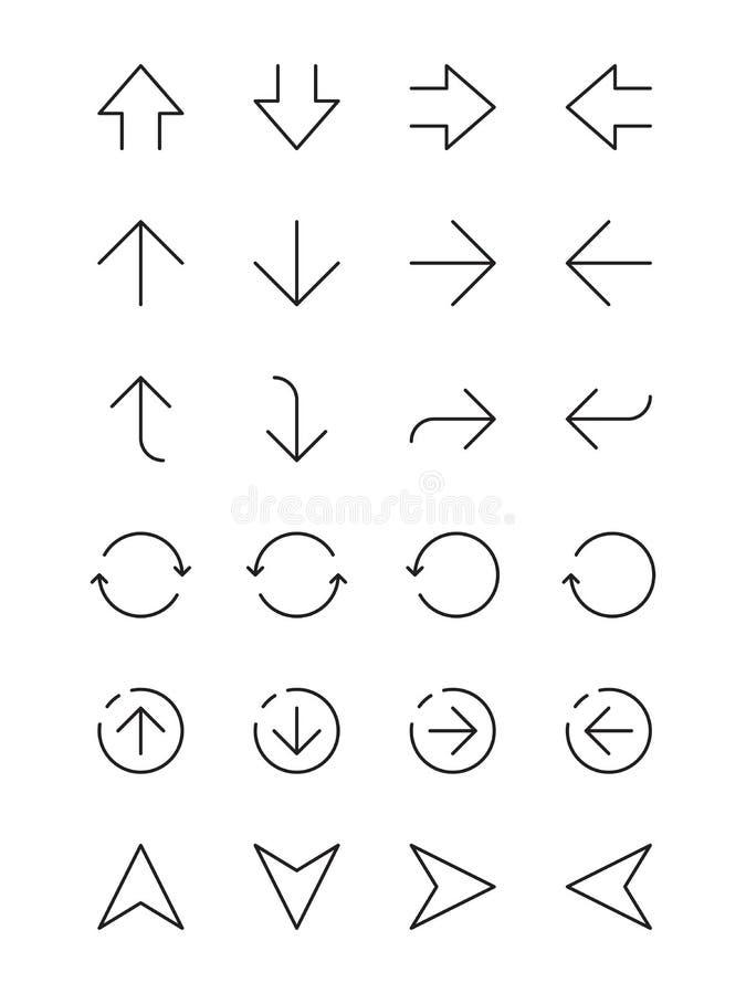 Setas simples Linha fina setas da navegação da relação de Ui da esquerda à direita acima abaixo dos elementos infographic do veto ilustração do vetor