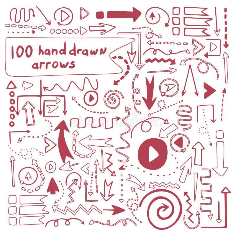 100 setas tiradas do vetor mão perfeita ilustração stock