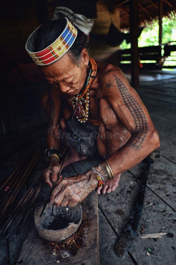 Setas tribais do envenenamento de Toikot da pessoa idosa para caçar em sua casa da selva foto de stock
