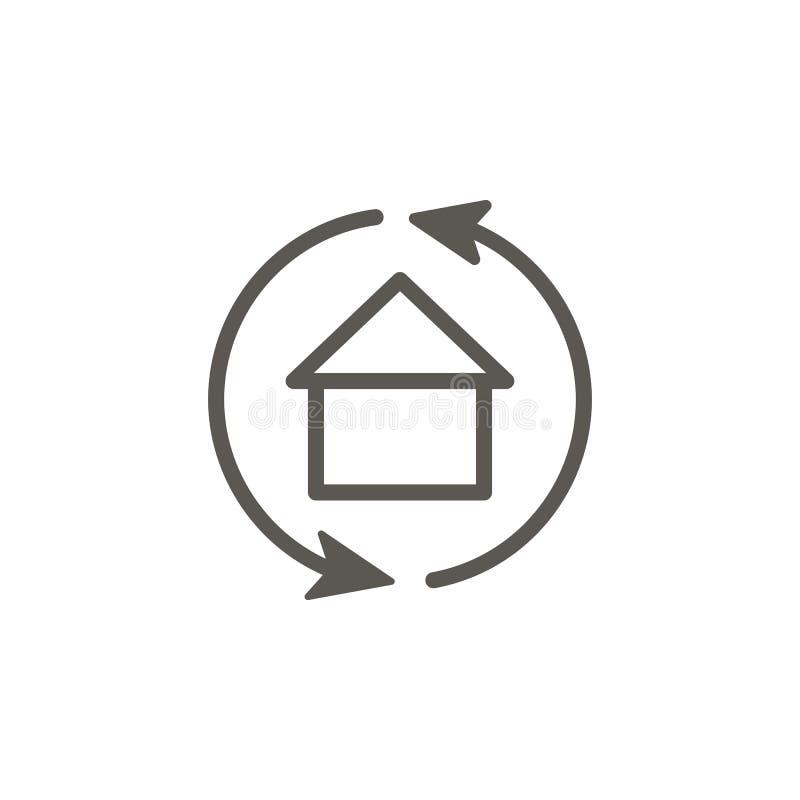 Setas, troca, ícone do vetor da casa Ilustra??o simples do elemento do conceito de UI Setas, troca, ícone do vetor da casa Casas  ilustração royalty free