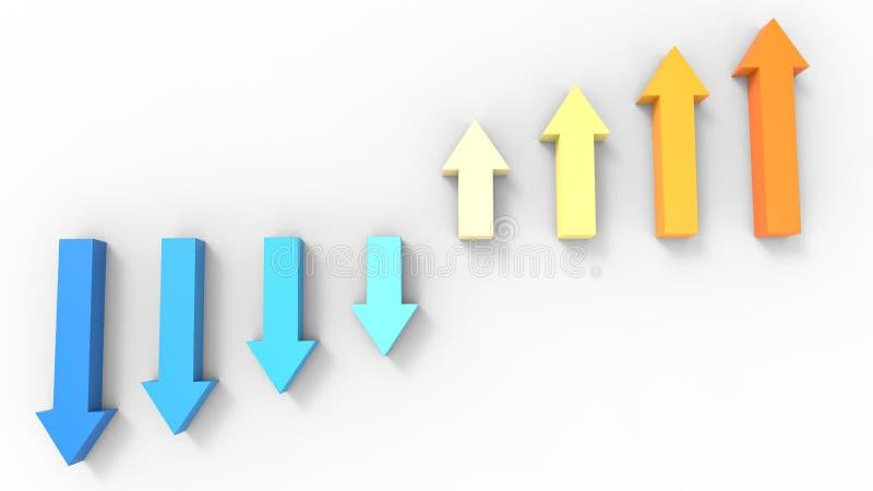 Setas - variações da cor do azul frio para aquecer a laranja ilustração do vetor