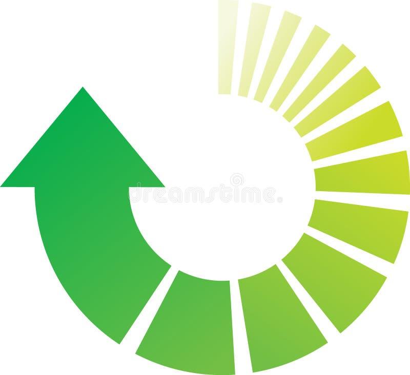 Setas verdes do processo ilustração stock