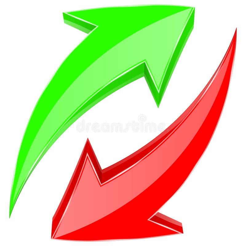 Setas verdes e vermelhas Ícones brilhantes da Web 3d Para cima e para baixo no movimento circular ilustração do vetor