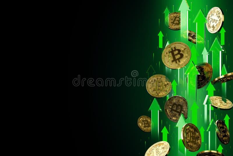 Setas verdes que apontam acima como elevações do preço de Bitcoin BTC Isolado no fundo preto, espa?o da c?pia Os preços de Crypto ilustração stock