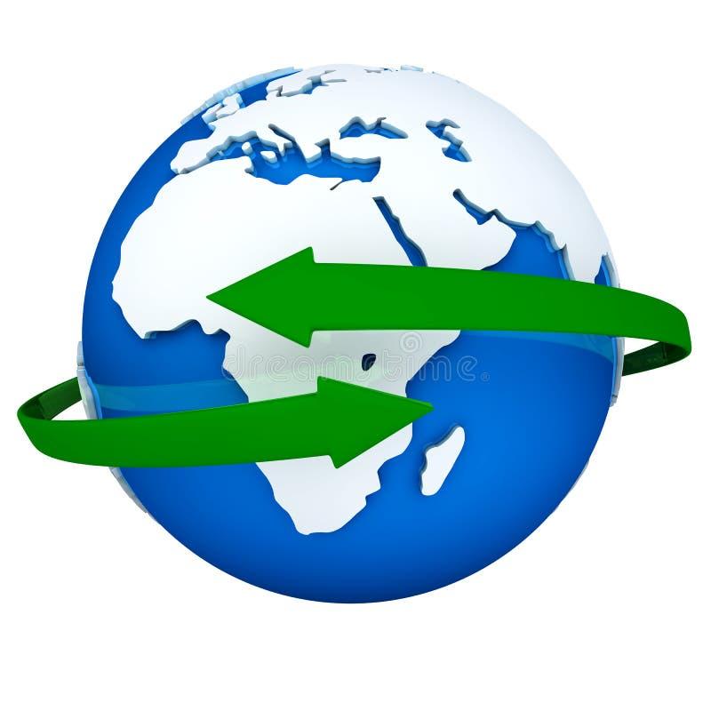 Setas verdes que giram em torno do globo ilustração do vetor