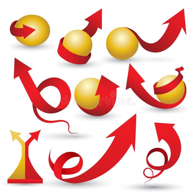 Setas vermelhas ajustadas com esfera fria ilustração royalty free