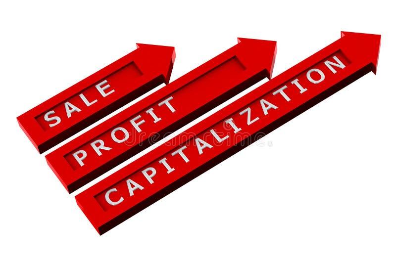Setas vermelhas com palavras, venda, lucro, capitalização ilustração do vetor