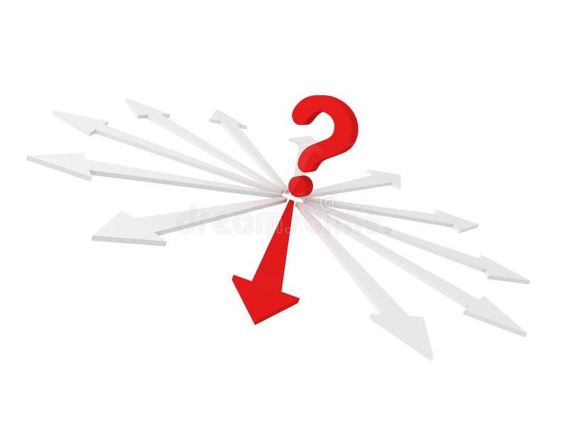 Setas vermelhas da busca da despesa do ponto do ponto de interrogação ilustração stock