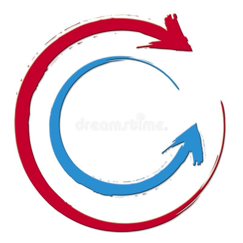 Setas vermelhas do círculo ilustração royalty free