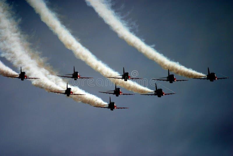 Setas vermelhas na tatuagem do ar de RAF Fairford imagem de stock