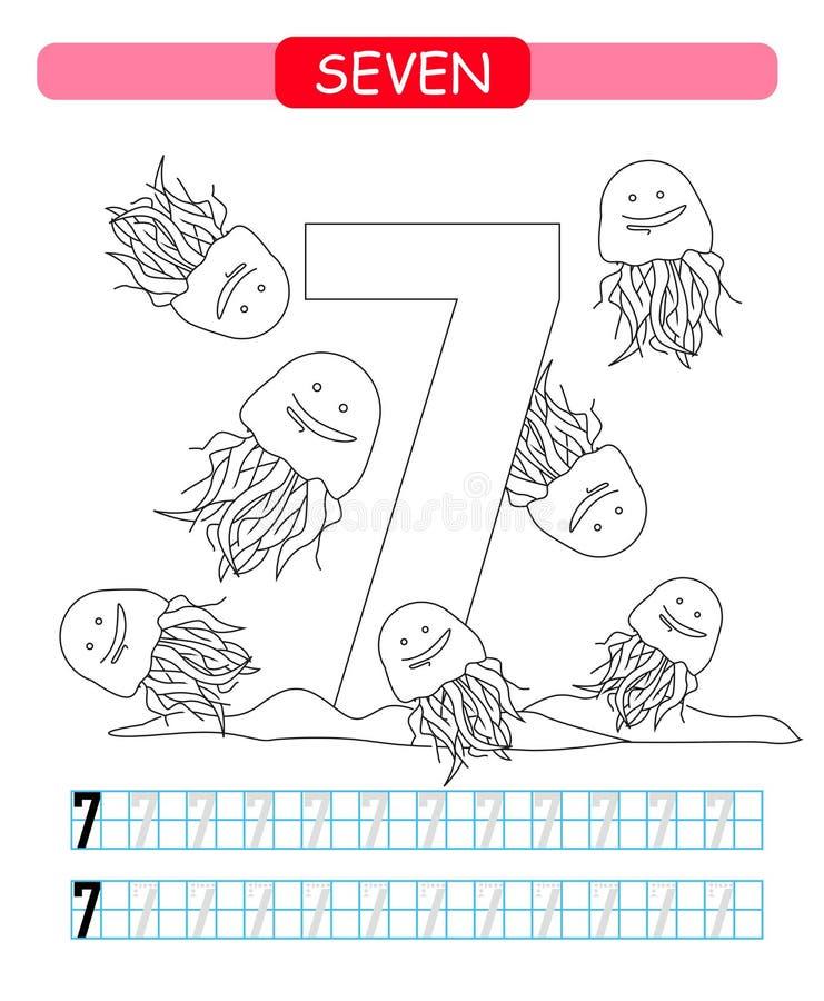 sete Aprendendo o número 7 Folha imprimível colorindo para o jardim de infância e o pré-escolar medusas ilustração stock