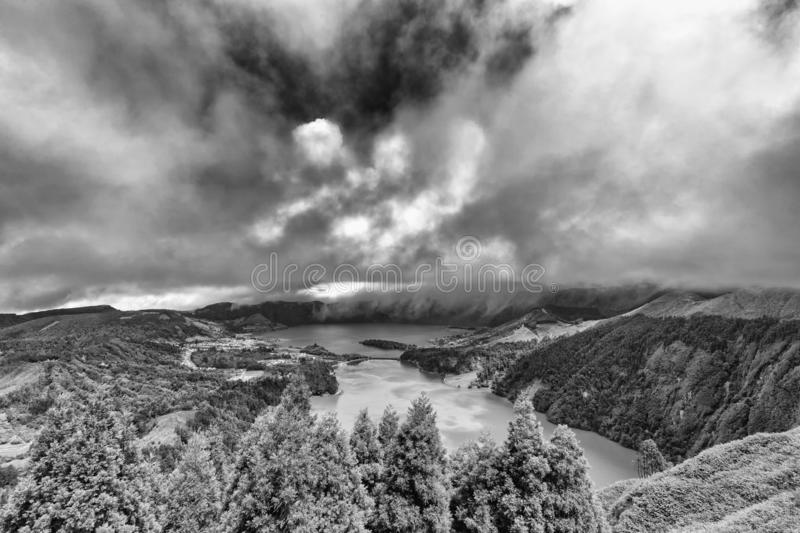 Sete Cidades in Black and White stock photo