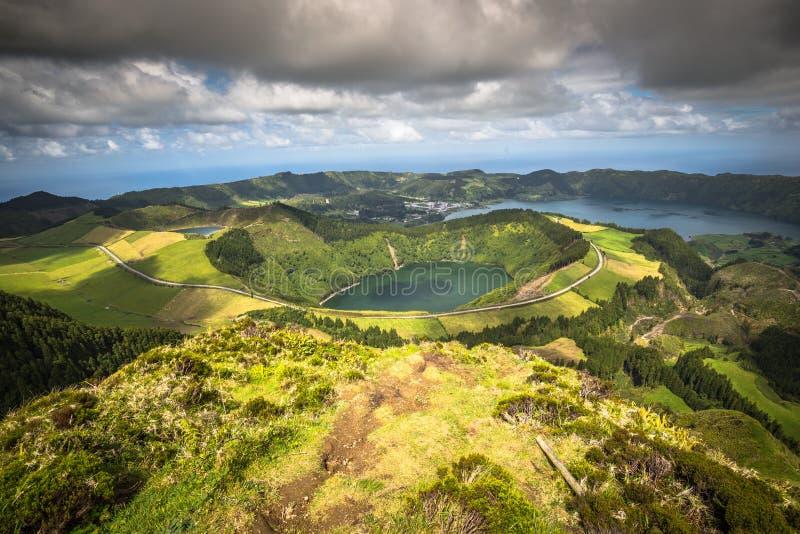 Sete Cidades Lagoa Ponta Delgada亚速尔群岛Sete Cidades是民用的 库存照片