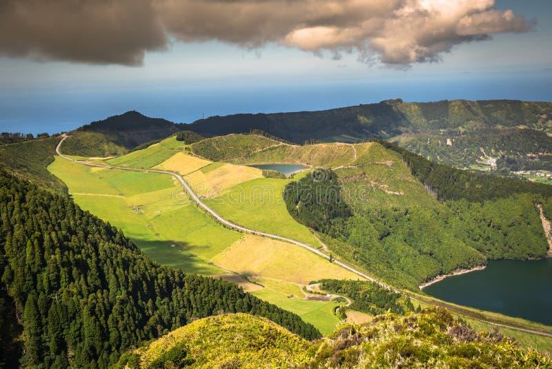 Sete Cidades Lagoa Ponta Delgada亚速尔群岛Sete Cidades是民用的 免版税图库摄影