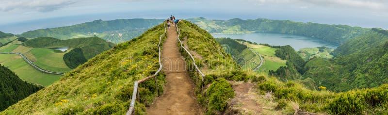 Sete Cidades sur l'île du sao Miguel aux Açores, Portugal image stock