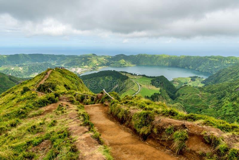 Sete Cidades sur l'île du sao Miguel aux Açores, Portugal image libre de droits