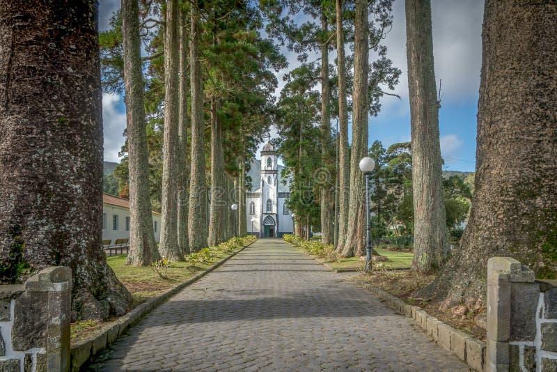 Sete cidades wioski kościół fotografia stock