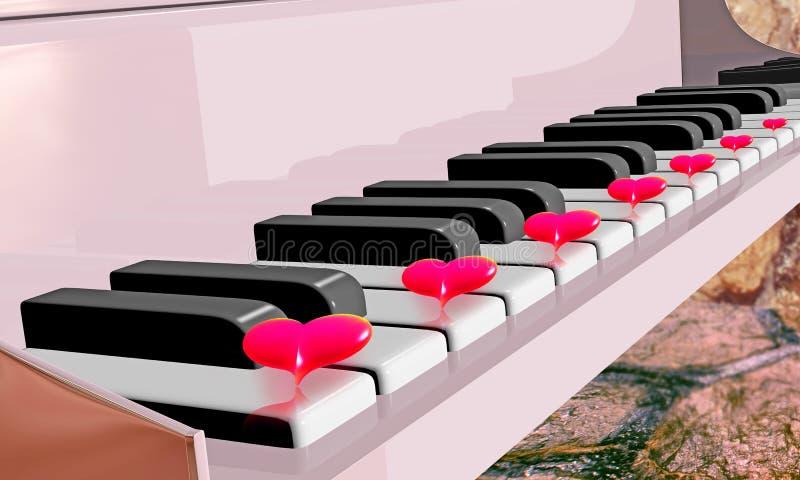Sete corações vermelhos ilustração stock