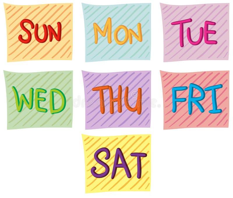 Sete dias da semana ilustração do vetor