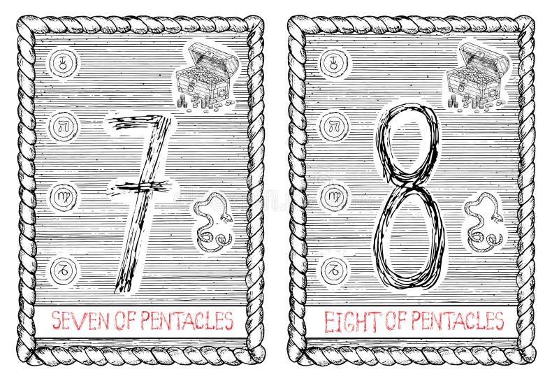 Sete e oito dos pentacles O cartão de tarô ilustração do vetor