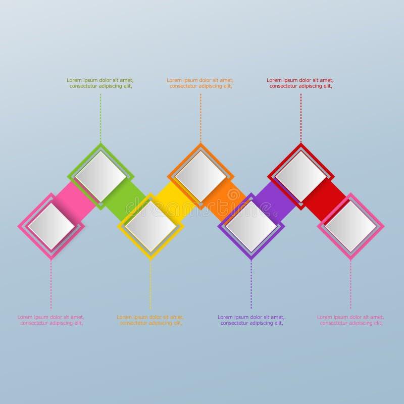 Sete elementos do quadrado do Livro Branco no ziguezague Conceito do successi ilustração royalty free