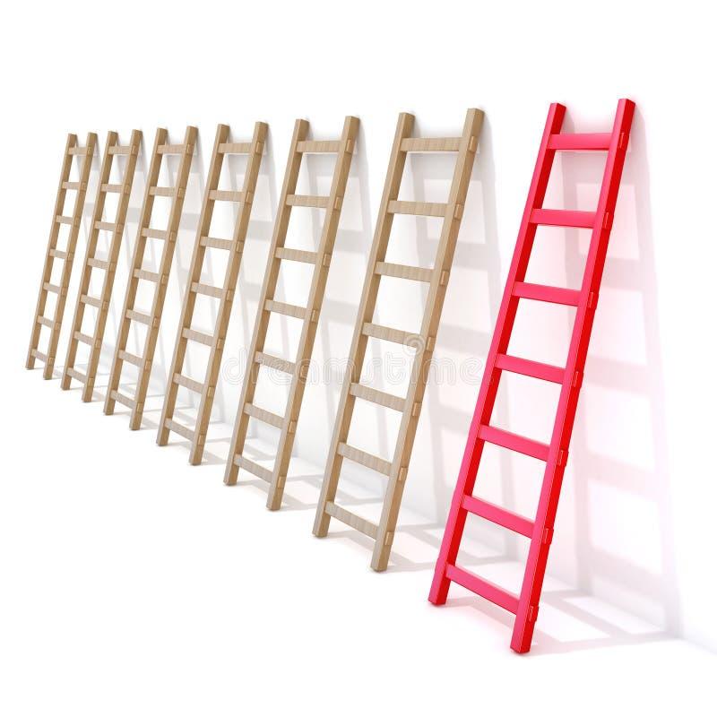 Sete escadas de madeira que inclinam-se contra uma parede, uma são vermelhas rendição 3d ilustração stock
