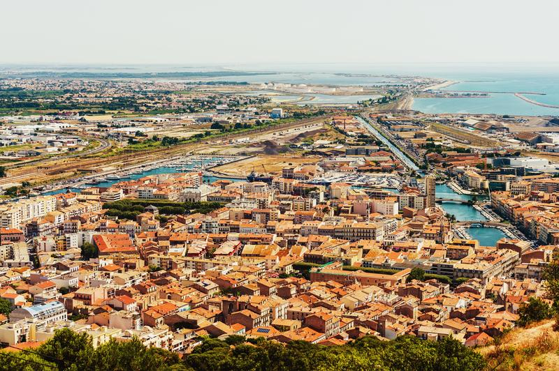 Sete - fascinating small town on the French Mediterranean coast. Known as the Venice of Languedoc, aerial view stock photos