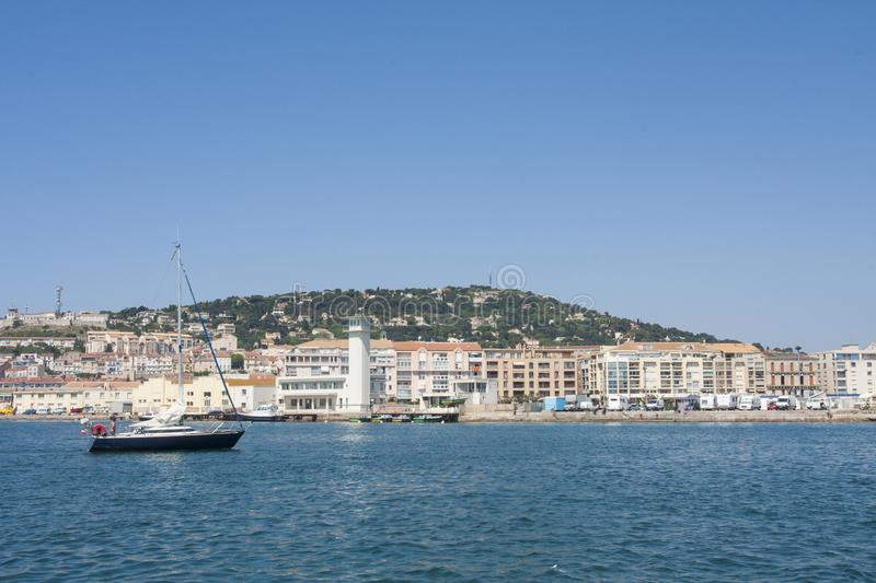 Sailing ship in Sete Harbor in the south of France royalty free stock image